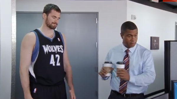 Kevin Love serves coffee in latest ESPN commercial