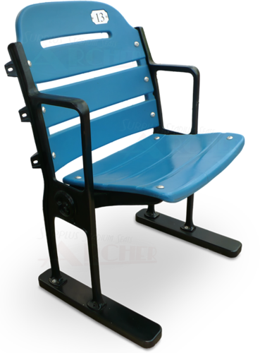 "Single ""Yankee Blue"" Stadium Seat with Restored Black Legs"