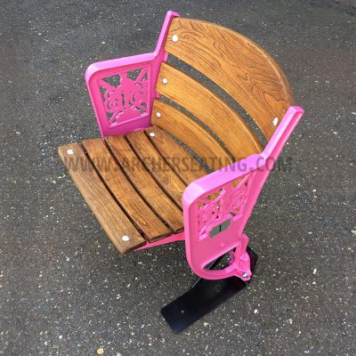 Pink Custom Wooden Ballpark Seat with Camden Yards Figural Legs