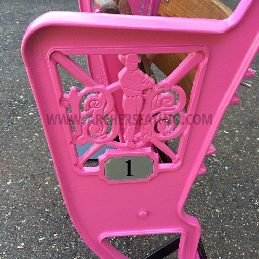 Pink Custom Wooden Ballpark Seat with Camden Yards Figural Legs Logo