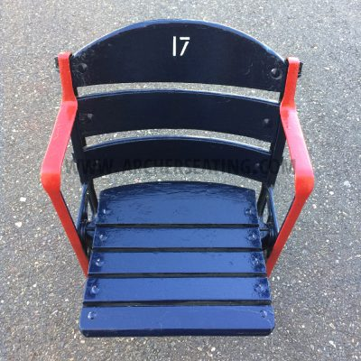 Restored #17 Fenway Park Blue Wooden Seat with Exact Paint from Fenway Park Maintenance