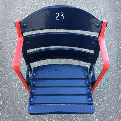 Restored #23 Fenway Park Blue Wooden Seat with Exact Paint from Fenway Park Maintenance