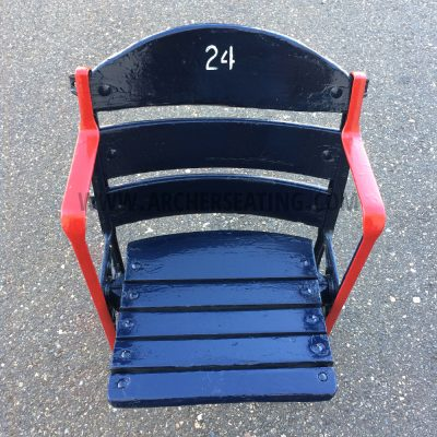 Restored #24 Fenway Park Blue Wooden Seat with Exact Paint from Fenway Park Maintenance