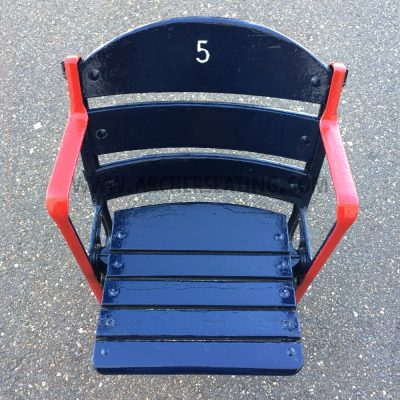 Restored #5 Fenway Park Blue Wooden Seat with Exact Paint from Fenway Park Maintenance