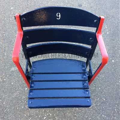 "Restored #9 ""Ted Williams"" Fenway Park Blue Wooden Seat with Exact Paint from Fenway Park Maintenance"