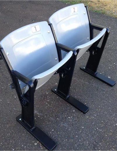 Gray Double Seat with Black Floor-Mount Legs