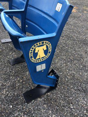 Veterans Stadium seat logo bell